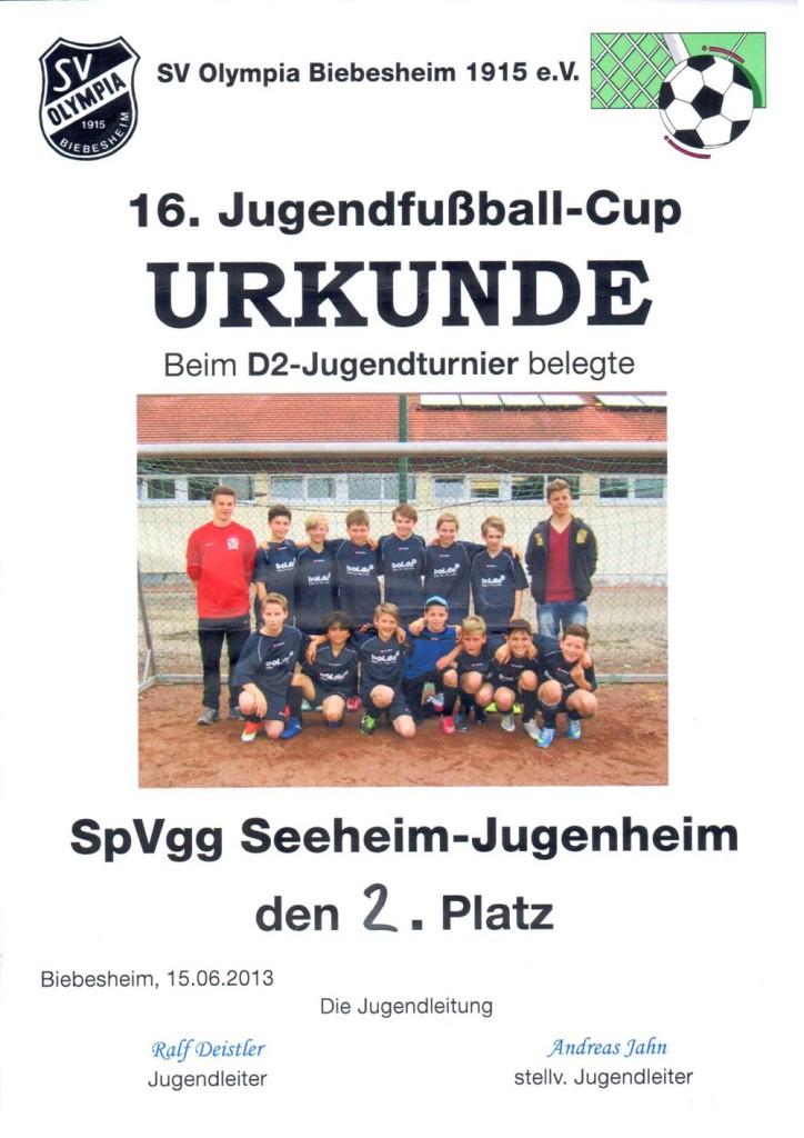 In Biebesheim belegte unsere D2-Jungend den zweiten Platz.